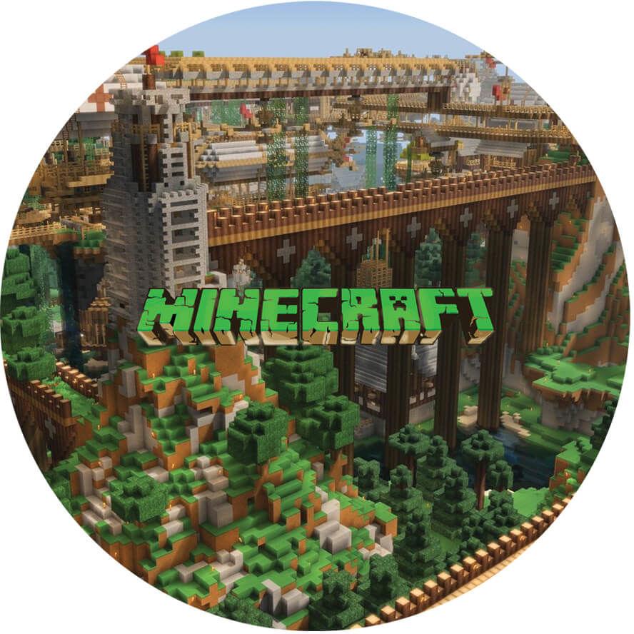 Dekoracyjny opłatek tortowy Minecraft - 20 cm