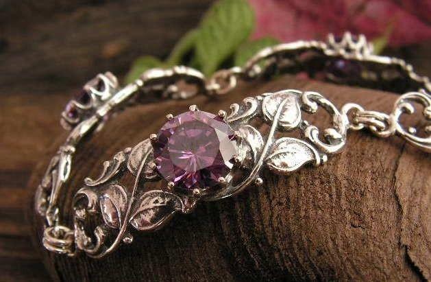 Maremm - srebrna bransoletka z ametystem