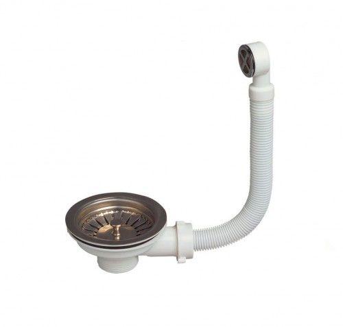 Syfonu zlewu fi 90mm z koszem i przelewem okrągłym, 1 1/2'' x 114 mm
