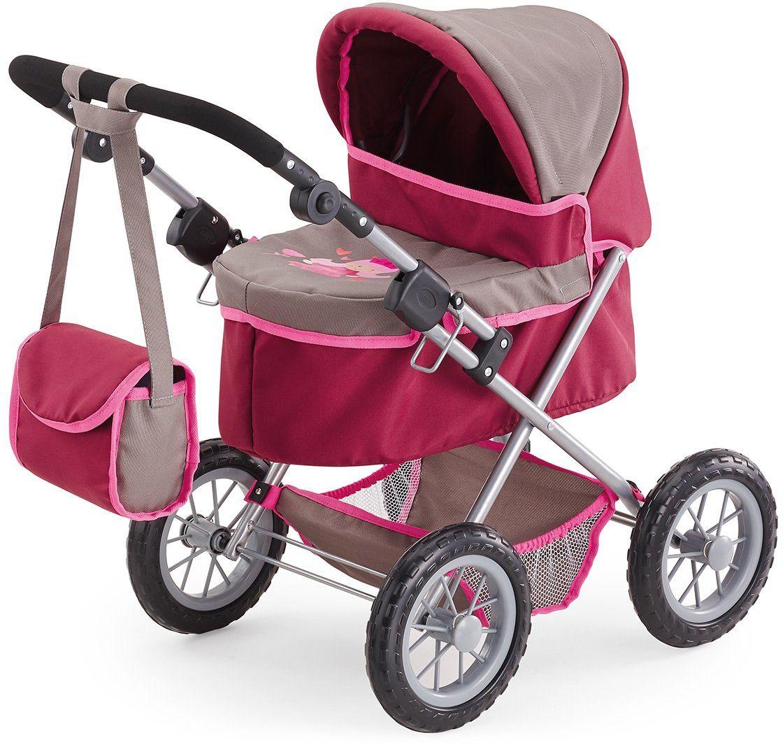 Bayer Design 1307800 wózek dla lalek Trendy, z regulacją wysokości, składany, motyw: księżniczka, szary/różowy