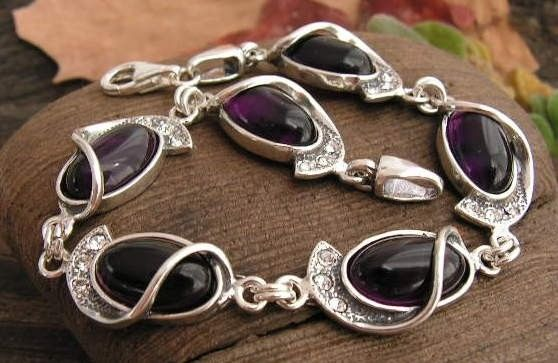 Penelopa - srebrna bransoletka z ametystem i kryształkami