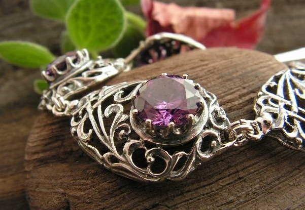 Burma - srebrna bransoletka z ametystem