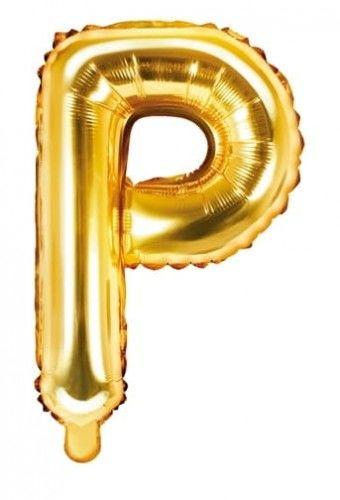 Balon foliowy w kształcie litery P, złoty