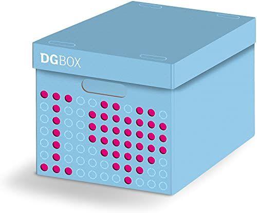 dgbox pojemnik z kartonu, kolor jasnoniebieski/różowy, 44 x 32 x 28 cm