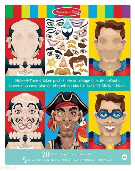 Naklejki wielokrotnego użytku twarze męskie wyklejanka melissa 14237