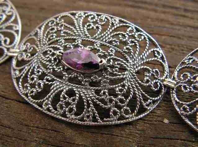 Athra - srebrna bransoletka z ametystem
