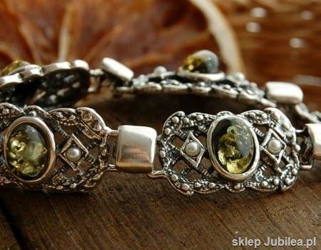 Lorena - srebrna bransoleta bursztyny i perły