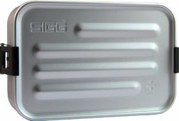 Sigg Metal Box Plus S aluminiowy pojemnik na lunch 0,8 l, nowoczesny pojemnik na kanapki z praktyczną wkładką, lekki jak piórko pojemnik na chleb z aluminium ze ścianką działową