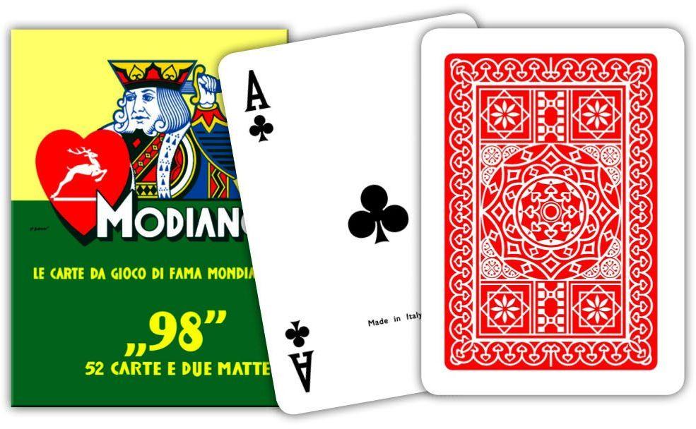 Modiano 300252 Poker 98, karty do gry, czerwone