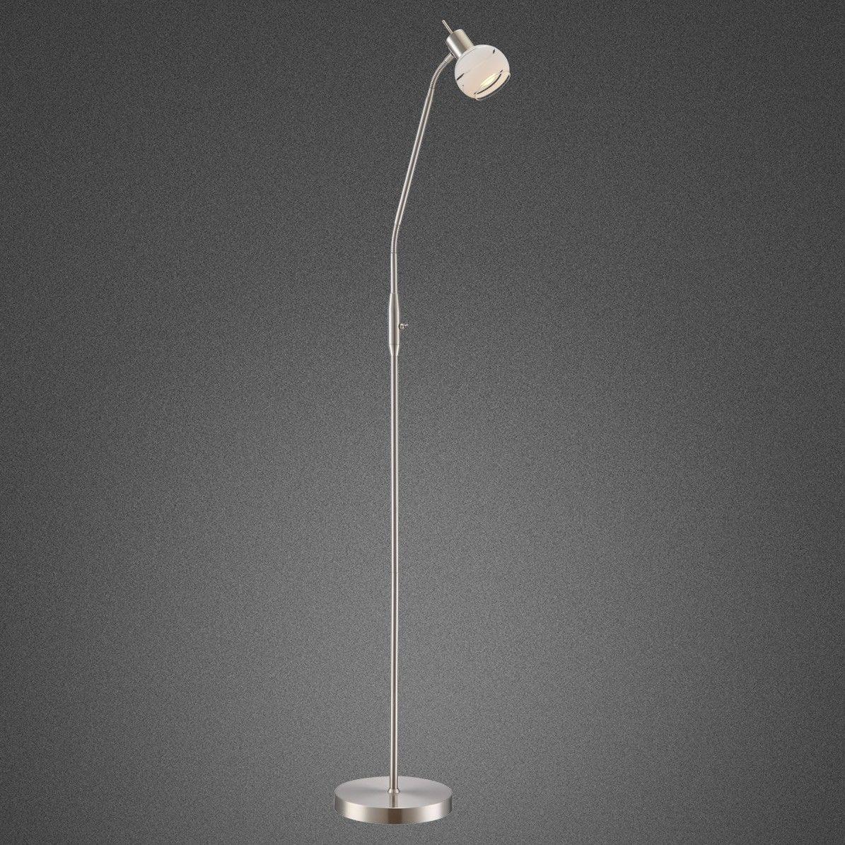 Globo lampa podłogowa Elliott 54341-1S nikiel mat szklany klosz LED 5W 3000K