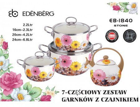 Zestaw garnków emaliowanych z czajnikiem Edenberg