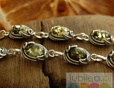 Nazza - srebrna bransoletka z bursztynem