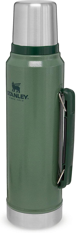 Stanley Classic Legendary Bottle 1L / 1.1QT Hammertone Green  Termos ze Stali Nierdzewnej BEZ BPA - Utrzymuje zimno lub ciepło przez 24 godziny - Do Mycia w Zmywarce