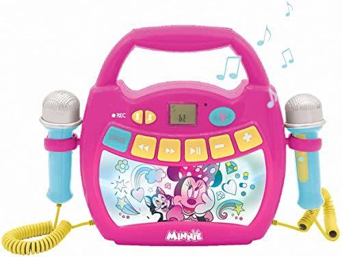 LEXIBOOK Disney Minnie przenośny odtwarzacz cyfrowy karaoke dla dzieci  mikrofony, efekty świetlne, Bluetooth, nagrywanie i przełączanie głosu, akumulator do ładowania, MP320MNZ