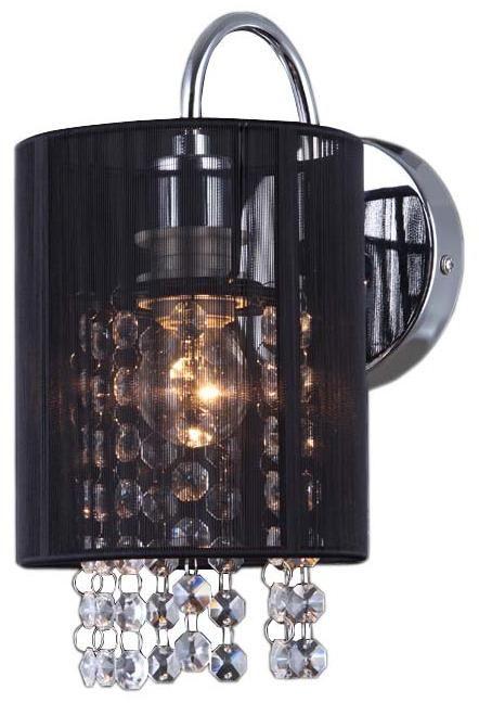 Italux kinkiet lampa ścienna Lana BK MBM1787/1 BK czarna z kryształkami