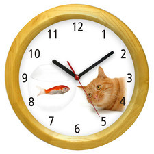 Zegar ścienny drewniany kotek #1