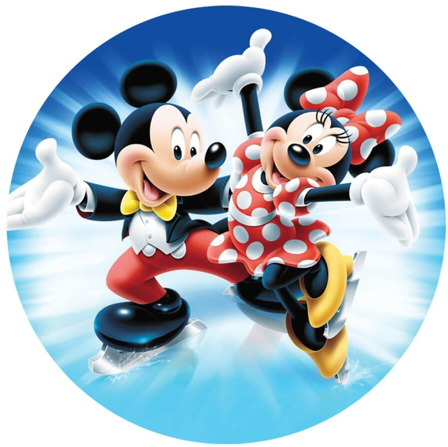 Dekoracyjny opłatek tortowy Myszka Miki i Mini - 20 cm