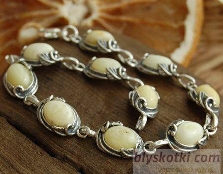 Edna - srebrna bransoletka z bursztynem