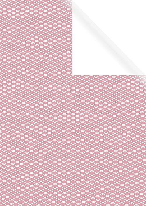 Rayher 67353000 papier do pakowania prezentów różowy z białymi rombami, FSC Mix Cred, 70 x 200 cm, jednostronny nadruk, 70 g/m2, naturalny, normalny