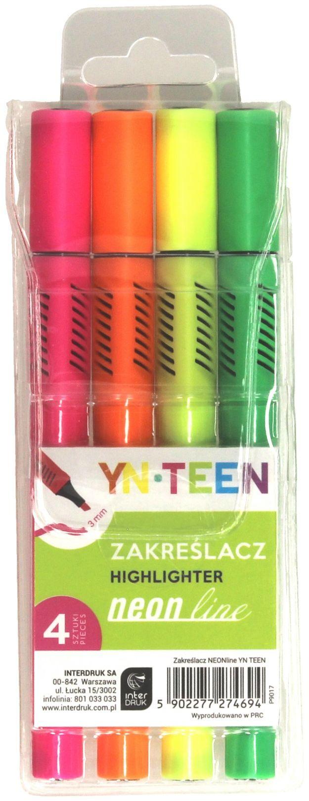 Zakreślacze 4kol neon YN Teen