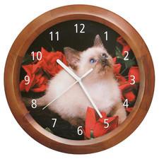 Zegar ścienny drewniany kotek #2