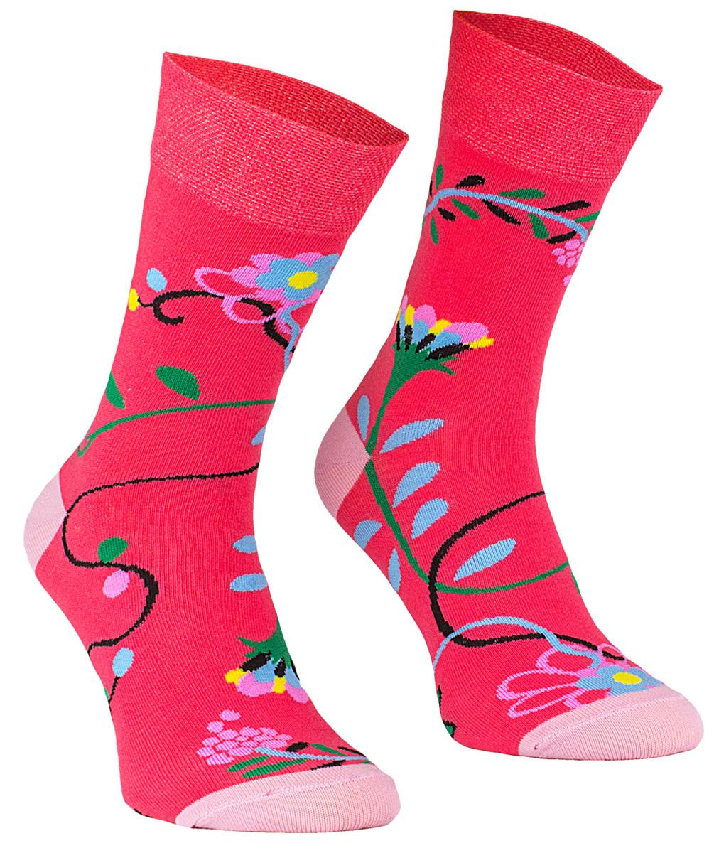 Flowers, Todo Socks, Różowe w kwiatki, Kolorowe Skarpetki