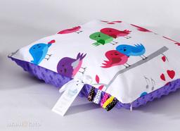 MAMO-TATO Poduszka Minky dwustronna 30x40 Ptaszki białe / fiolet