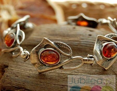 Nadina - srebrna bransoletka z bursztynem