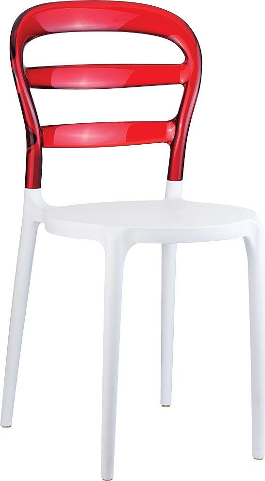 Krzesło Miss Bibi czerwony przeźroczysty/biały