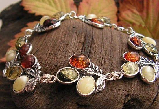 Tęcza - srebrna bransoletka z bursztynów