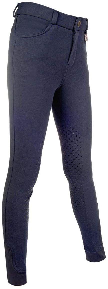 HKM Unisex spodnie jeździeckie -Kids Additional Easy - silikonowe obszycie kolan 6900 beżowy 6900 Dunkelblau 170