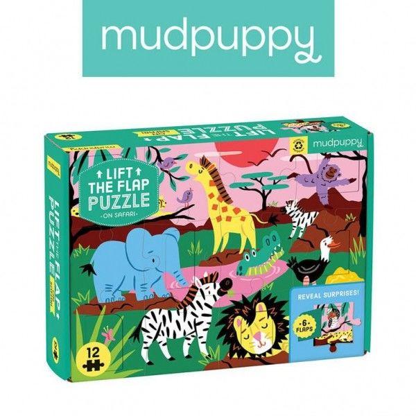 Mudpuppy Puzzle z Okienkami Safari 12 Elementów 2+