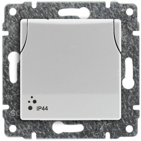 VENA Gniazdo bryzgoszczelne z/u IP44 z przesłonami klapka białe 510439