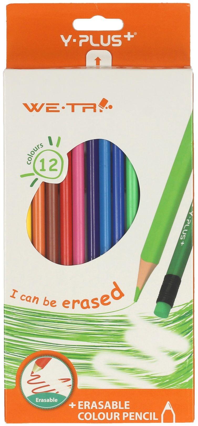 Kredki ołówkowe 12kol ścieralne z gumką Y-Plus
