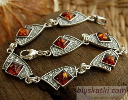 Gioco - srebrna bransoletka z bursztynem i kryształkami