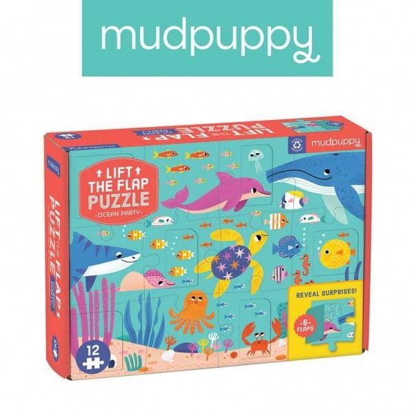 Mudpuppy Puzzle z Okienkami Przyjęcie w Oceanie 12 Elementów 2+
