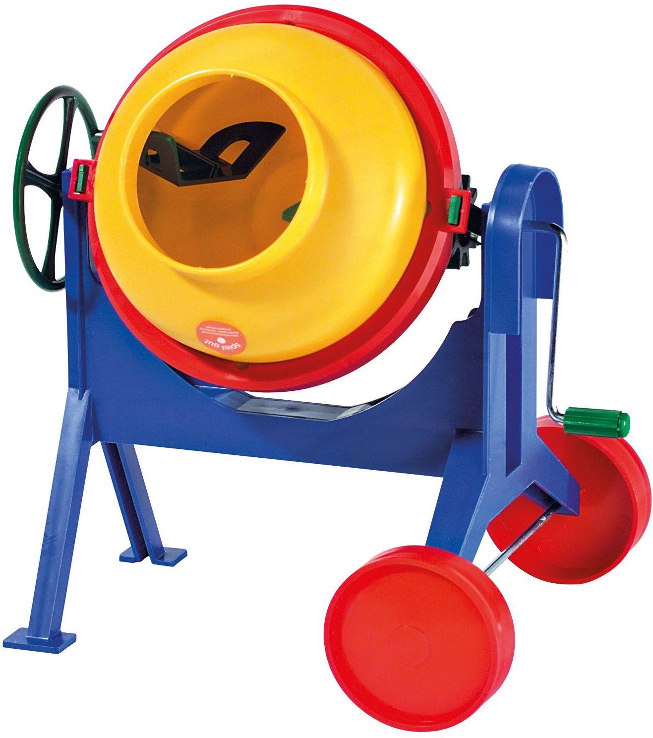 Lena 05003 beton ok. 28 cm, maszyna do mieszania z realistyczną funkcją, obracając kołem i korbą, mikser dla dzieci od 3 lat, zabawka piaskowa na plażę i piaskownicę, wielokolorowa