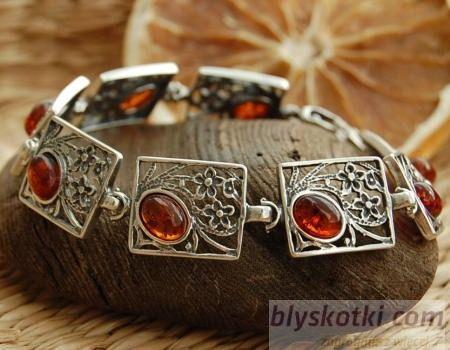Norma - srebrna bransoletka z bursztynem
