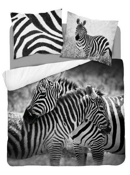 Pościel bawełniana 160x200 3817 A Zebry czarna biała młodzieżowa Zebra Holland Natura 2