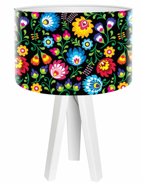 Lampa stołowa mini-trójnóg Kwiaty folk czarna
