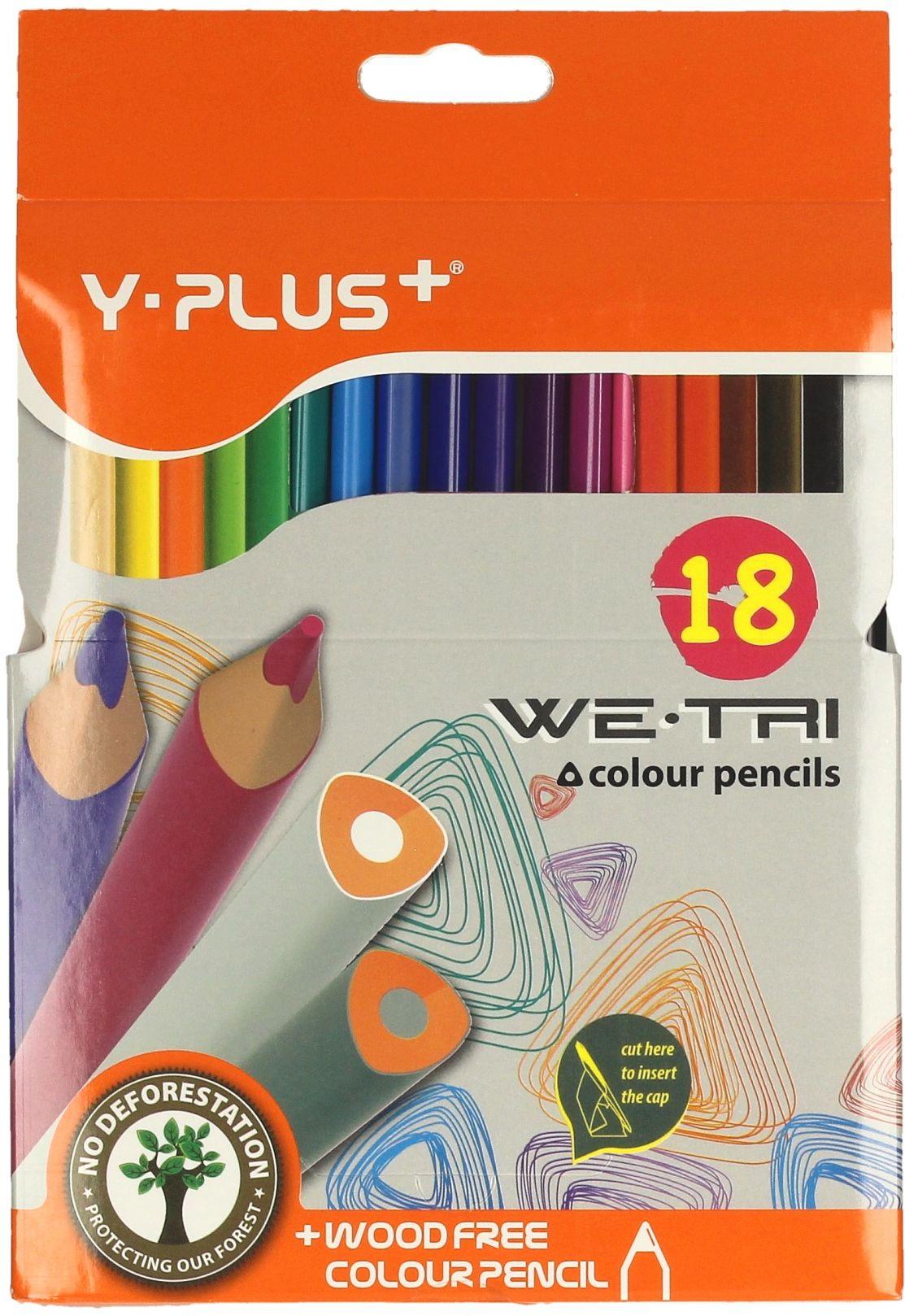 Kredki ołówkowe 18kol trójkątne bezdrzewne Y-Plus