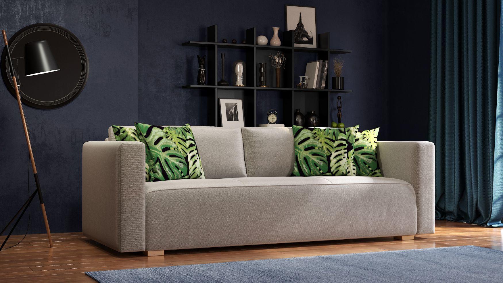 Zielona Sofa Balaton piękne poduszki wzór jungle