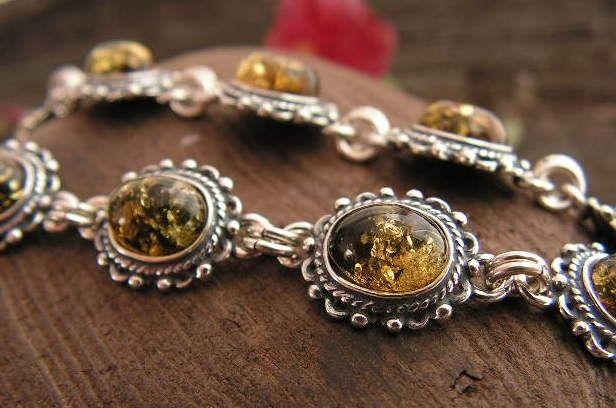 Adyga - srebrna bransoletka z bursztynem