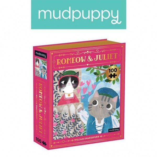 Mudpuppy Puzzle - Książka romeomiau i Julia Kotopowieści 100 Elementów 6+