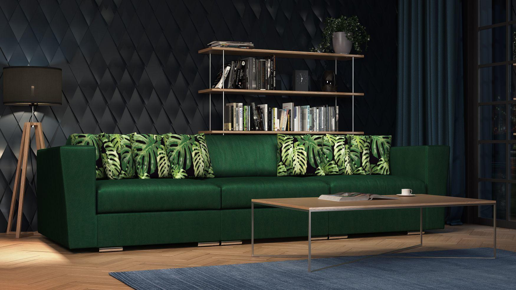 Duża nowoczesna zielona Sofa Jungle