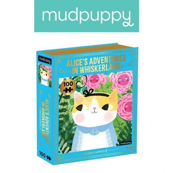 """Mudpuppy Puzzle - Książka """"alicja w Krainie Wąsów"""" Kotopowieści 100 Elementów 6+"""