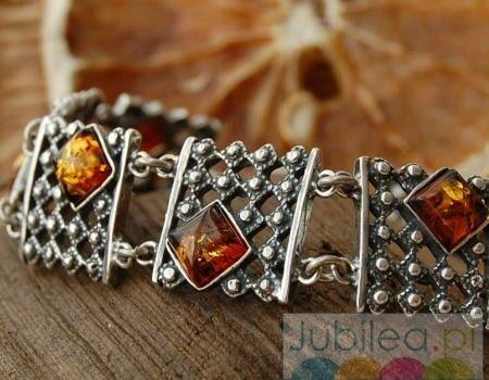 Royal - srebrna bransoletka z bursztynem