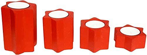 Hess Holzspielzeug 40043 - świecznik na podgrzewacze w kształcie gwiazdy, zestaw 4 szt., z drewna, czerwony, wysokość ok. 3 cm, ok. 5 cm, ok. 7 cm i ok. 9 cm, dekoracja na specjalne okazje z Rudaw