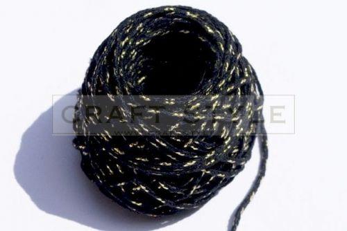 Sznurek bawełniany Bobinka ze złotą nitką CZARNY
