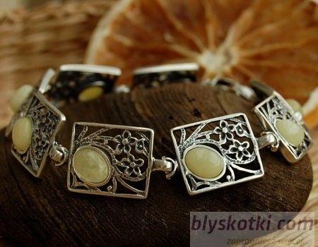 Laura - srebrna bransoletka z bursztynem